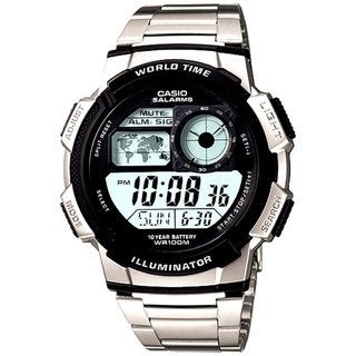 Casio Men's Core AE1000WD-1AV Silvertone Stainless Steel Quartz Watch with Digital Dial