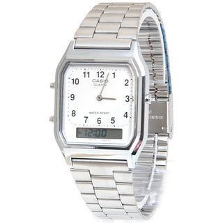 Casio Men's Core AQ230A-7B Silvertone Stainless Steel Quartz Watch with White Dial