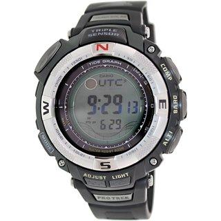 Casio Men's PRG130-1V Black Resin Quartz Watch with Silvertone Dial