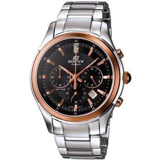 Casio Men's Edifice EF530P-1AV Silvertone Stainless Steel Quartz Watch with Black Dial