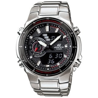 Casio Men's Edifice EFA131D-1A1V Silvertone Stainless Steel Quartz Watch with Black Dial
