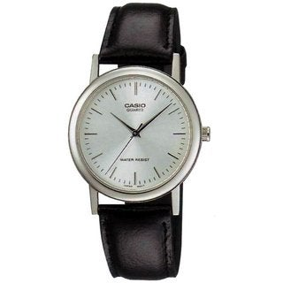 Casio Men's Core MTP1095E-7A Black Leather Quartz Watch with Silvertone Dial