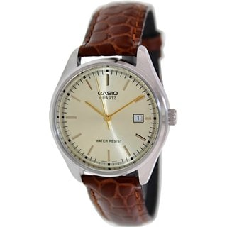 Casio Men's Core MTP1175E-9A Brown Leather Quartz Watch with Goldtone Dial
