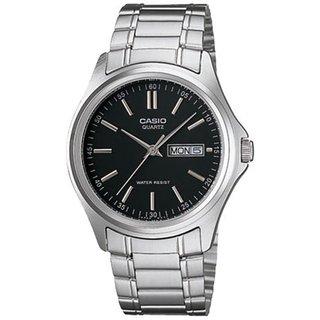 Casio Men's Core MTP1239D-1A Silvertone Stainless Steel Quartz Watch with Black Dial