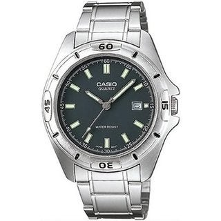 Casio Men's Core MTP1244D-8A Silvertone Stainless Steel Quartz Watch with Black Dial