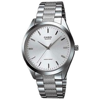 Casio Men's MTP1274D-7A Silvertone Stainless Steel Quartz Watch with Silvertone Dial