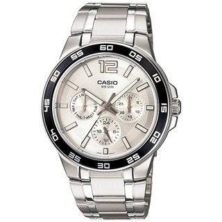Casio Men's Core MTP1300D-7A1V Silvertone Stainless Steel Quartz Watch with Silvertone Dial