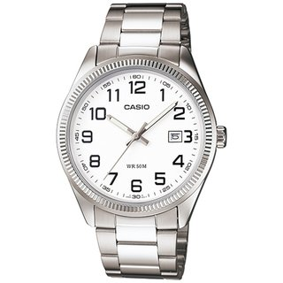 Casio Men's Core MTP1302D-7BV Silvertone Stainless Steel Quartz Watch with White Dial