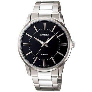 Casio Men's Core MTP1303D-1AV Silvertone Stainless Steel Quartz Watch with Black Dial