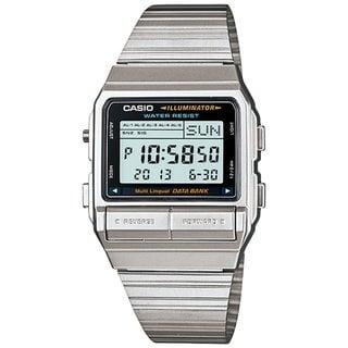 Casio Men's Core DB380-1 Silvertone Stainless Steel Quartz Watch with Digital Dial