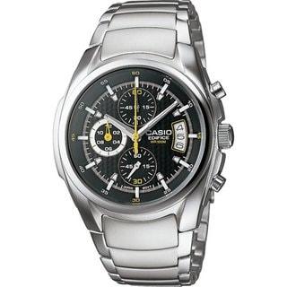 Casio Men's Edifice EF512D-1AV Silvertone Stainless Steel Quartz Watch with Black Dial