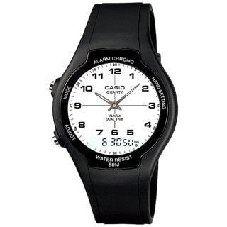 Casio Men's Core AW90H-7BV Black Rubber Quartz Watch with White Dial