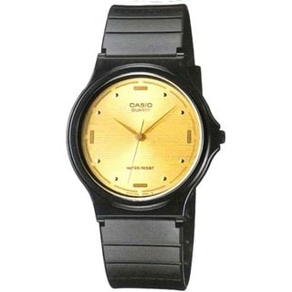 Casio Men's Core MQ76-9A Black Resin Quartz Watch with Goldtone Dial