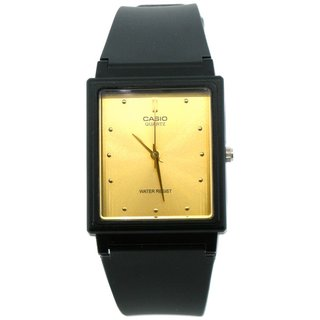 Casio Men's Core MQ38-9A Black Resin Quartz Watch with Goldtone Dial