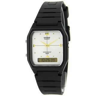 Casio Men's Core AW48HE-7AV Black Resin Quartz Watch with Silvertone Dial