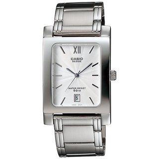 Casio Men's Core BEM100D-7AV Silvertone Stainless Steel Quartz Watch with White Dial