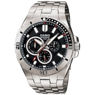 Casio Men's Core MTD1060D-1AV Silvertone Stainless Steel Quartz Watch with Black Dial