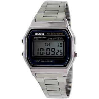 Casio Men's Core A158WA-1 Silvertone Stainless Steel Quartz Watch with Digital Dial