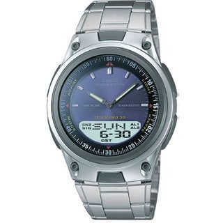 Casio Men's Core AW80D-2AV Silvertone Stainless Steel Quartz Watch with Blue Dial