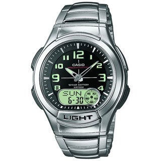 Casio Men's Core AQ180WD-1BV Silvertone Stainless Steel Quartz Watch with Black Dial