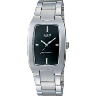 Casio Men's Core MTP1165A-1C Silvertone Stainless Steel Quartz Watch with Black Dial