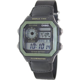 Casio Men's AE1200WHB-1BV Black Cloth Quartz Watch with Digital Dial