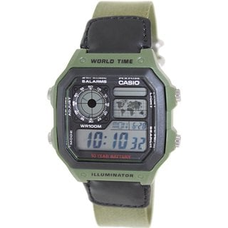 Casio Men's AE1200WHB-3BV Green Cloth Quartz Watch with Digital Dial