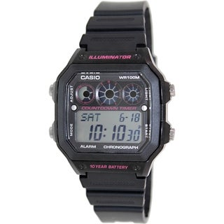 Casio Men's AE1300WH-1A2V Black Resin Quartz Watch with Digital Dial