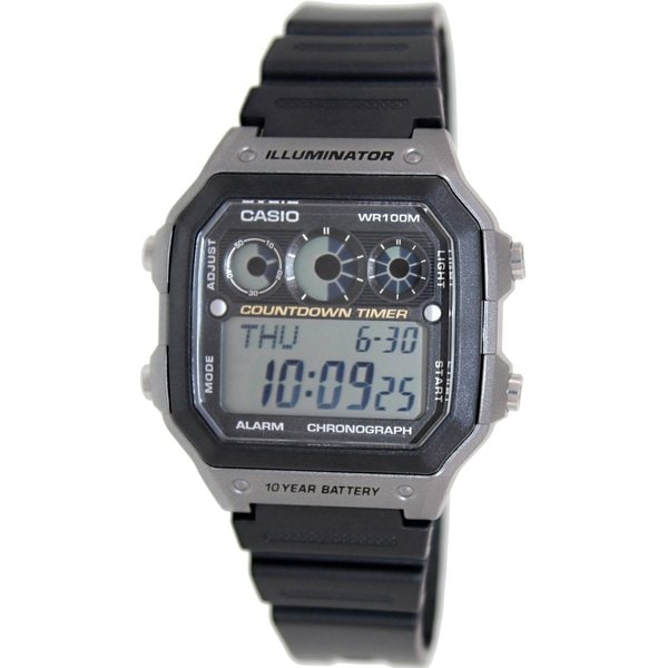 Casio Men's AE1300WH-8AV Black Rubber Quartz Watch with Digital Dial