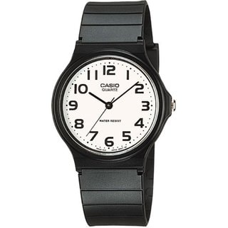 Casio Men's MQ24-7B2 Black Resin Quartz Watch with White Dial