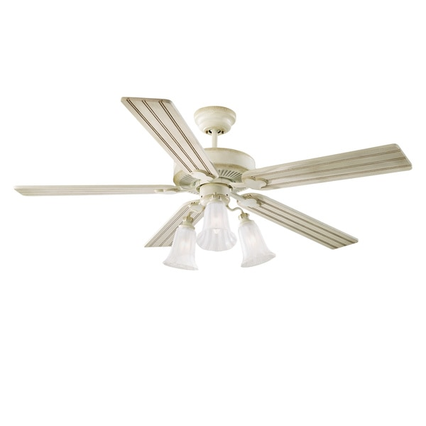 Monte Carlo Old School 52-inch Distressed White Ceiling Fan