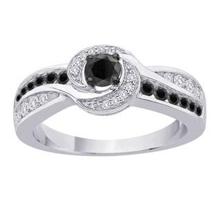10k White Gold 2/3ct TDW Black and White Diamond Engagement Ring (G-H, I2-I3)