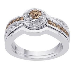 10k White Gold 2/3ct TDW Brown/ White Diamond Bridal Set (G-H, I2-I3)