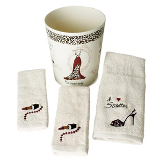 Saturday Knight Red Carpet Ready 4-piece Towel and Wastebasket Set