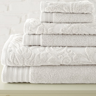 Jacquard and Solid Leaf Swirl Zero-Twist Egyptian Cotton 6-piece Towel Set