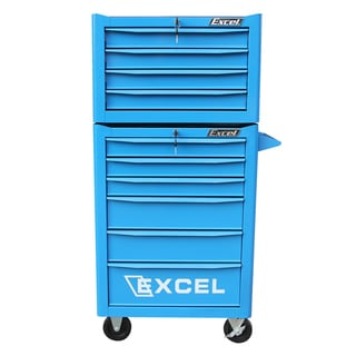 Excel Blue Powder-coated Steel 26-inch Top Chest and Roller Cabinet Combo
