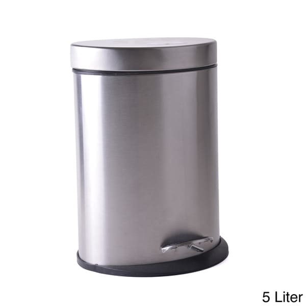 Oval Stainless Steel Step Wastebasket