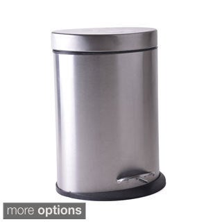 Oval Stainless Steel Step Wastebasket