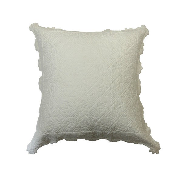 Carly White Cotton Quilted Euro Sham
