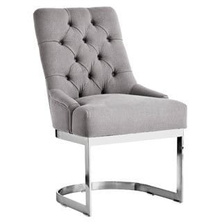 Sunpan Hoxton Vintage Linen Grey Upholstered Dining Chair