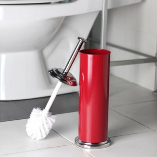 Powder-coated Red Toilet Brush Holder with Brush