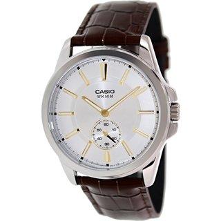 Casio Men's MTPE101L-7AV Brown Leather Analog Quartz Watch with White Dial