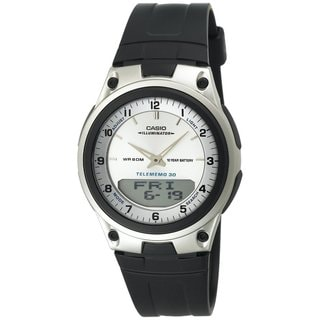 Casio Men's Core AW80-7AV Black Resin Analog Quartz Watch with White Dial