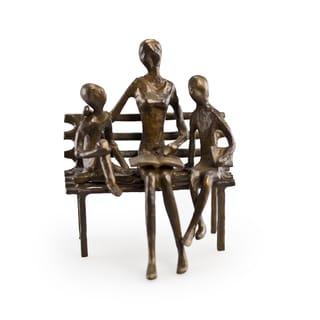 Mother Reading to Children Bronze Sculpture