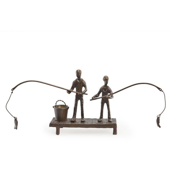 Children Fishing Bronze Sculpture