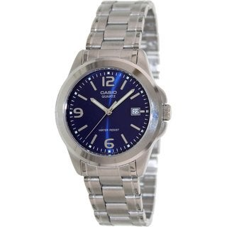 Casio Men's MTP1215A-2A Silvertone Stainless Steel Quartz Watch with Blue Dial