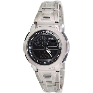 Casio Men's Core AQF102WD-1BV Silvertone Stainless Steel Quartz Watch with Black Dial