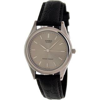 Casio Men's MTP1093E-8A Black Leather Quartz Watch with Silvertone Dial