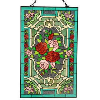 Tiffany Style Roses Stained Glass 32 x 20-inch Window Panel