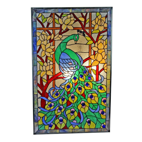 Tiffany Style Peacock Stained Glass 32 x 20-inch Window Panel